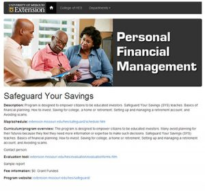 Snapshot of Safeguarding Your Savings website