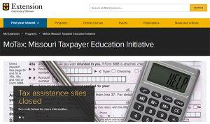 screen shot of MoTax website